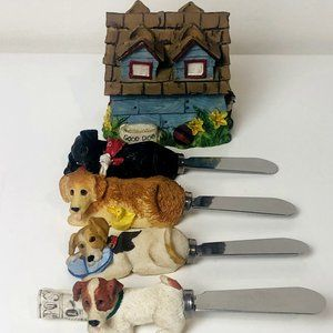 Dogs Only Hand Painted House Statue Figure Resin Blade Cheese Spreaders